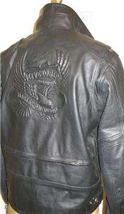 embossed eagle vented leather jacket hd part 97151 03vm mens size xl
