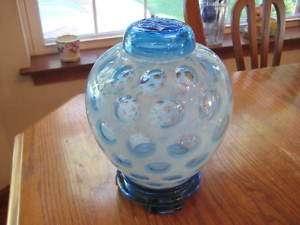 FENTON COIN DOT BLUE SIGNED 3PC GINGER JAR