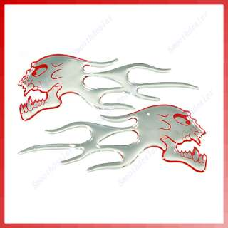 Skull Flames Motorcycle Car Auto Stickers Badge Red