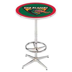 36 UAB Counter Height Pub Table   Chrome Base with Footrest
