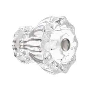 Large Fluted Clear Glass Cabinet Knob With Nickel Bolt
