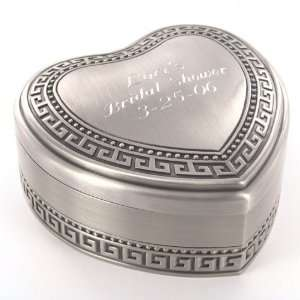 Antique Pewter Accented Heart Jewelry Box Kitchen