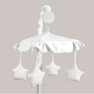 Solid White Minky Dot Musical Baby Crib Mobile by JoJO Designs Baby