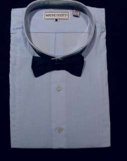 New Mens Blue Tuxedo Shirt With Black Satin Bowtie Clothing