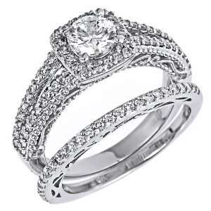 Set Round Brilliant Cut Diamond Engagement Wedding Ring Bridal Set