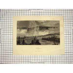 HUNT ANTIQUE PRINT c1790 c1900 NIAGARA FALLS CANADA