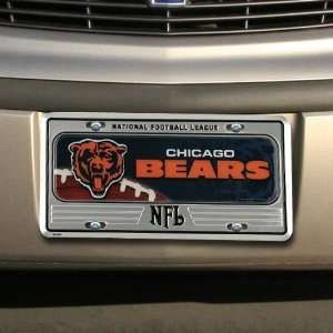 Chicago Bears Silver Metal License Plate Sports