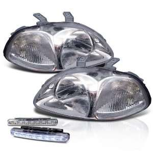 96 98 Honda Civic Chrome Crystal Head Lights + LED Bumper Fog Lamp Set