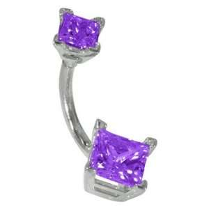 Cut Amethyst Solid 14K White Gold Belly Ring   (February) FreshTrends