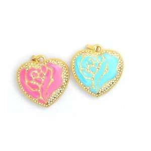 Cute Pink Crystal Rose Hearts USB Flash Drive with Necklace Computers