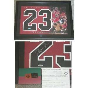 Michael Jordan Signed Bulls Framed Jersey Numbers Piece by