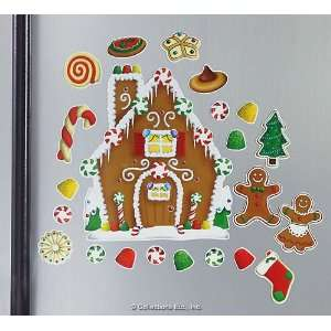 Gingerbread House with Treats Fridge Magnet Set