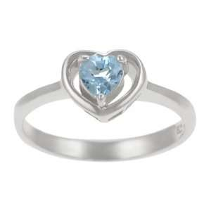 Sterling Silver Genuine Blue Topaz Heart Ring Jewelry