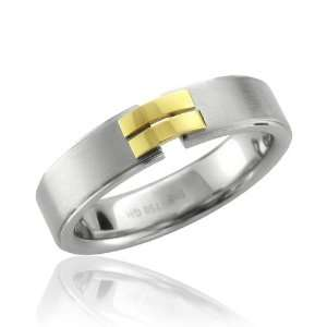 Gold and Stainless Steel Band Ring Width 5mm Diamond Delight Jewelry