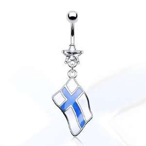 316L Surgical Steel and Star Gem Belly Ring with Epoxy