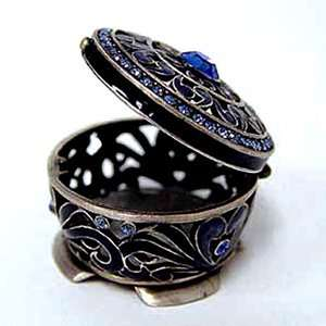 Pewter Swarovski Crystal Enameled Persian Keepsake Box (1 1/4 x 1 1