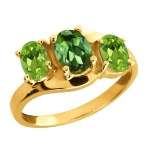 Ct Oval Tourmaline Green Mystic Topaz and Peridot 10k Yellow Gold Ring