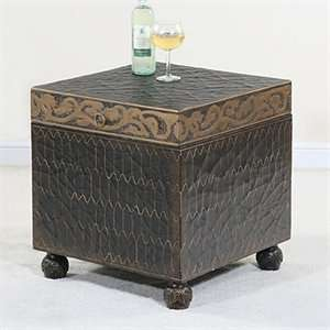 Ultimate Accents 49870TR Trunk End Table, Aged Copper