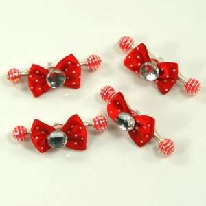 Red / Baby / Toddler/ Girls Bow Shaped with imitation gem Hair