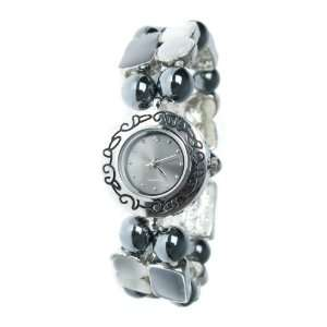 Hematite Black & Grey Bead Ladies Bracelet Watch