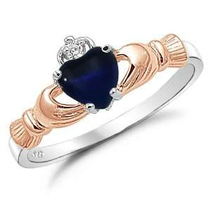 Two Tone Rose Gold MidNight Blue Heart Cats Eye Claddagh Ring Size 9