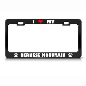 Bernese Mountain Paw Love Heart Pet Dog Metal license plate frame Tag