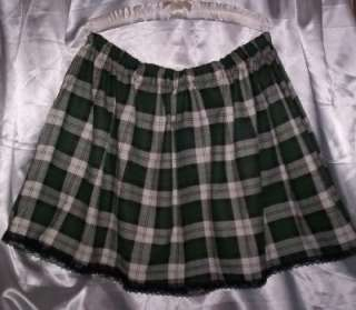 ADULT SISSY WOMENS GREEN PLAID SCHOOL GIRL MINI SKIRT