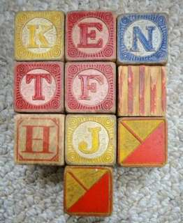 LOT antique FANCY WOODEN TOY BLOCKS alphabet 10 pc