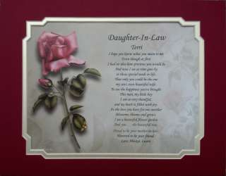 DAUGHTER IN LAW PERSONALIZED POEM BIRTHDAY PRESENT OR CHRISTMAS GIFT