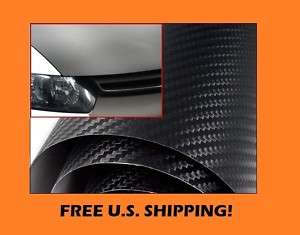 FORD 12 x 24 Black Carbon Fiber Wrap Hood Dash Mirror Sheet Vinyl