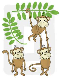 MONKEY JUNGLE SAFARI BABY NURSERY WALL STICKERS DECALS