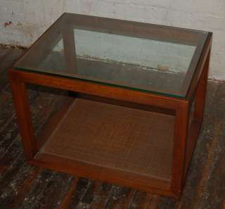 Glass Top Walnut Cube End Table Caning Milo Mid Century Vintage Knoll