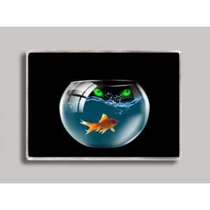 Cat Looking in Goldfish Bowl Refrigerator Magnet