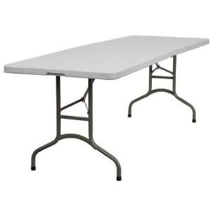 Blow Molded Plastic Bi Folding Table in Granite White