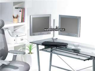 DUAL LCD SCREEN DOUBLE MONITOR DESK SWING ARM MOUNT