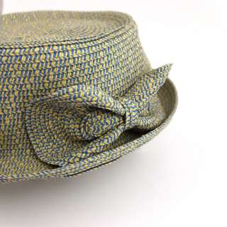 Women Straw Pork Pie Trilby Hat & Bow var colours M L