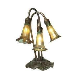 Dale Tiffany 1704/268 Lily Accent Lamp, Antique Bronze/Verde and Glass