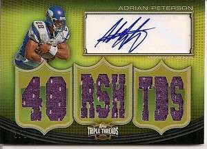 Adrian Peterson Signed Autograph Triple Threads Jersey Card 3/9